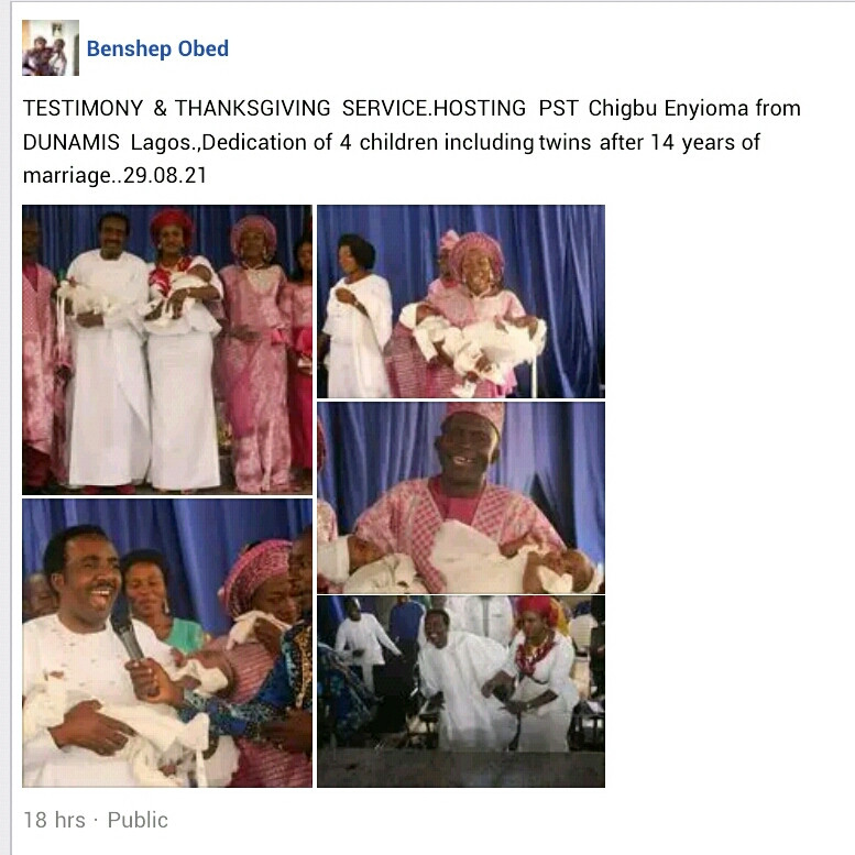 Nigerian couple welcome twins after 14 years of marriage
