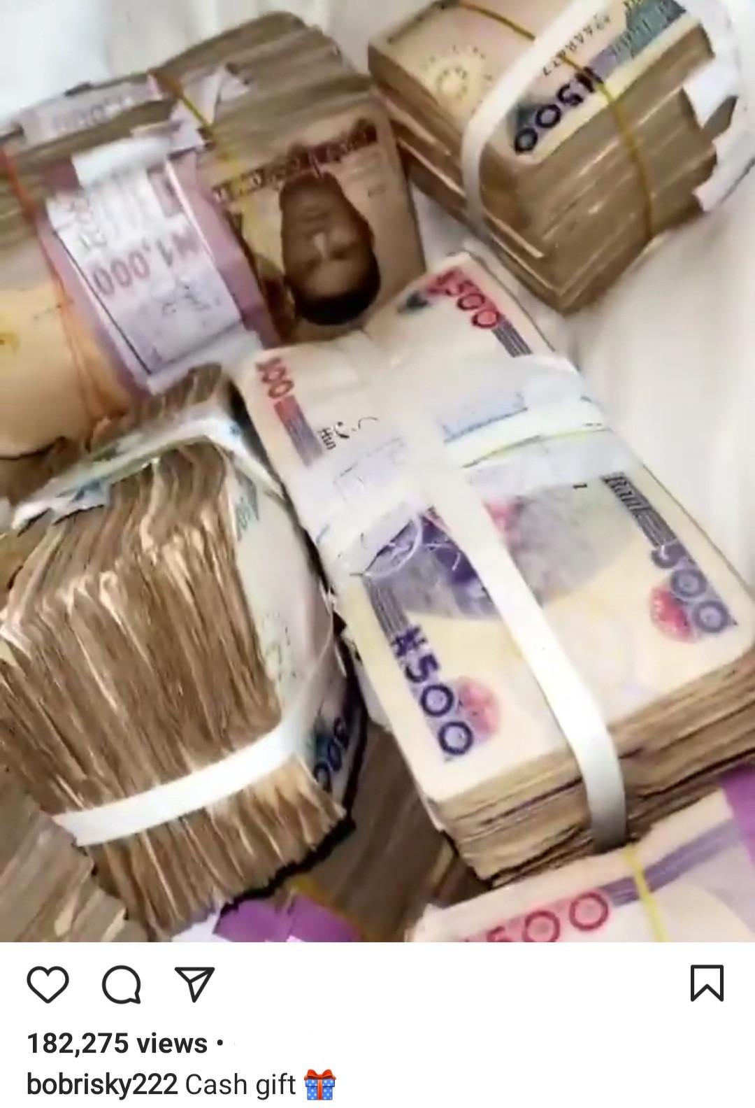 Bobrisky shows off cash gifts he