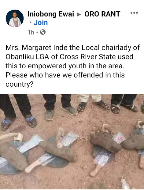 """""""Who have we offended in this country?"""" - Mixed reactions as Cross River LG chairman empowers constituents each with one tuber of yam, hoe and cutlass"""