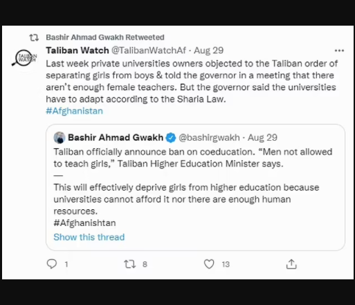 Afghan women can study at university but not in the same room as men, Taliban declare