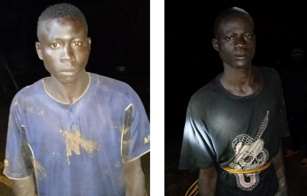 Two suspected battery thieves nabbed, tied to pole in Plateau community
