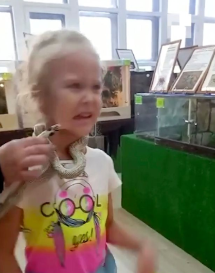 Terrifying moment girl, 5, is bitten on face by snake at petting zoo
