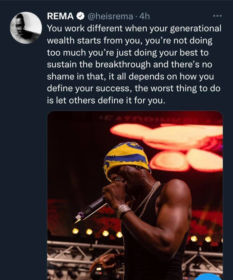 You work different when generational wealth starts from you - Rema