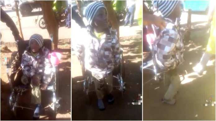 Dubious woman busted after making her son pose as a cripple in a wheelchair to beg at vantage points (video)