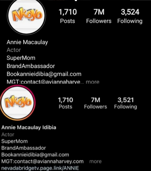 """Annie adds """"Idibia"""" back to her Instagram bio after initially removing it and reverting to her maiden name"""