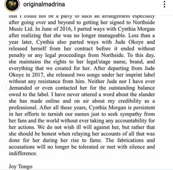 Cynthia Morgan calls out former record label boss, Jude Okoye and former manager Joy Tongo again