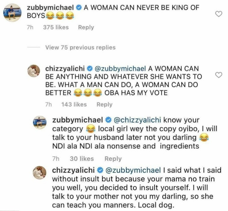 Chizzy Alichi infantilizes Zubby Michael after he insulted her during argument over a woman being the