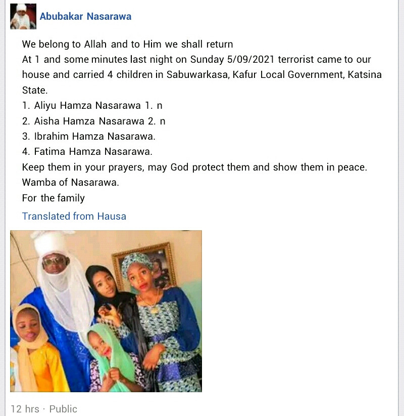 Bandits abduct four children of village head in Katsina