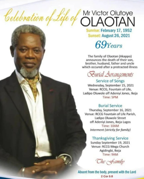 Family release funeral arrangements for actor Victor Olaotan