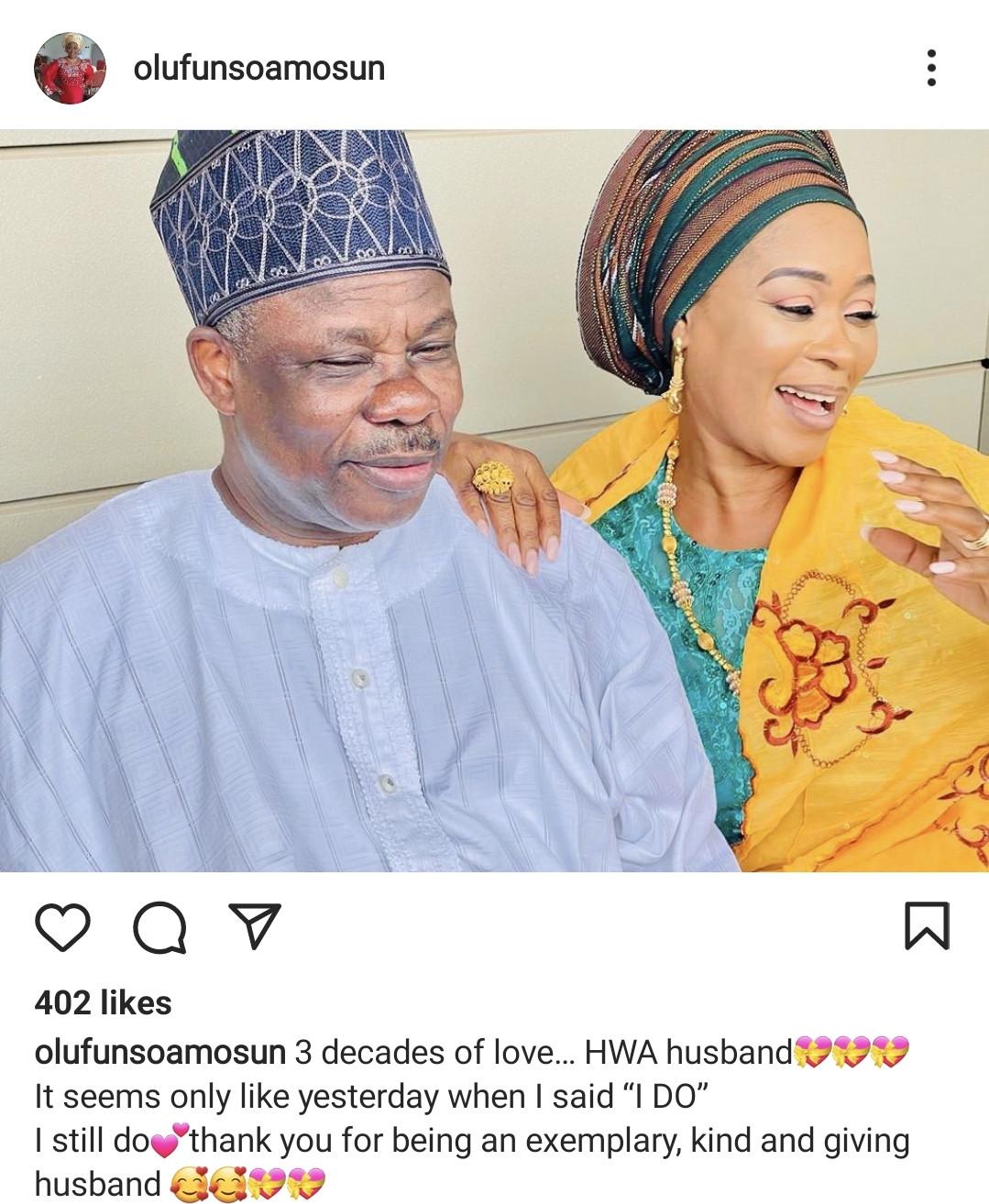 Former Ogun state governor, Ibikunle Amosun, and wife celebrate 30th wedding anniversary
