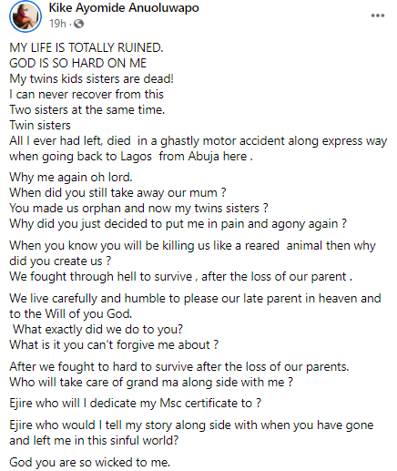 """""""God why are you so wicked to me?"""" Woman cries out after losing her entire family members"""