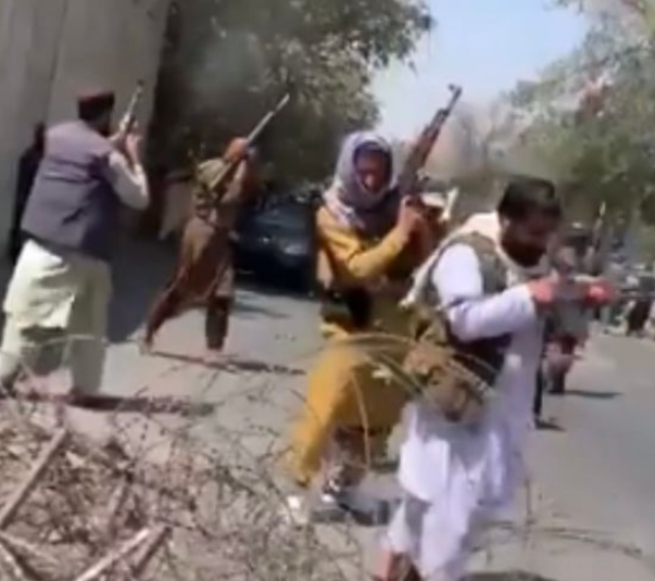 Taliban fighters round up terrified women in supermarket car park and open fire