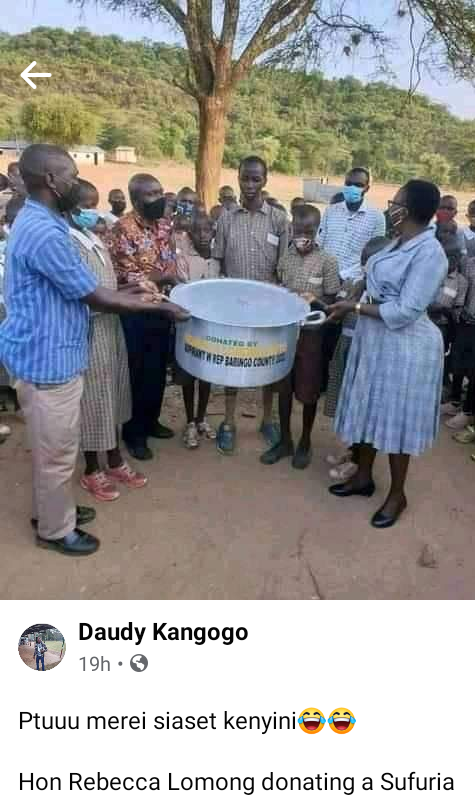 Reactions as Kenyan politician donates one pot branded with her name to a school