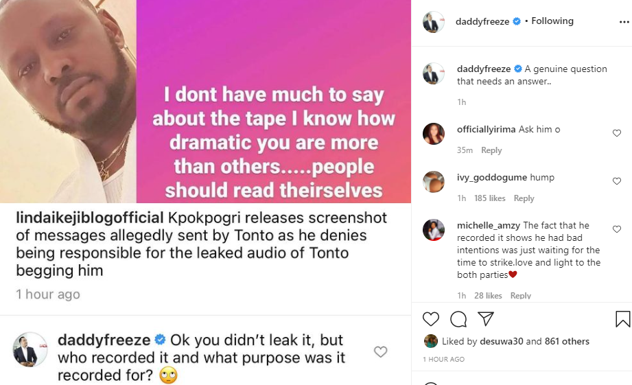 Who recorded the audio and for what purpose was it recorded - Daddy Freeze asks Kpokpogri after denying leaking audio of ex-girlfriend, Tonto Dikeh begging him
