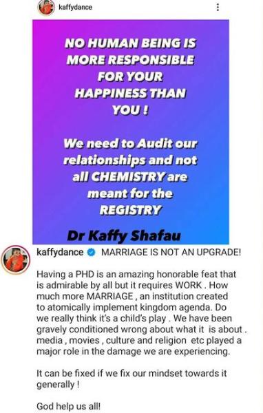 Marriage is not an upgrade - Dancer Khaffy