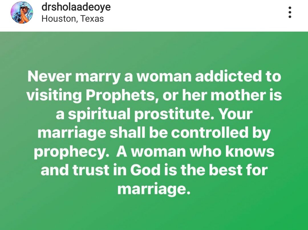 Never marry a woman addicted to visiting prophets