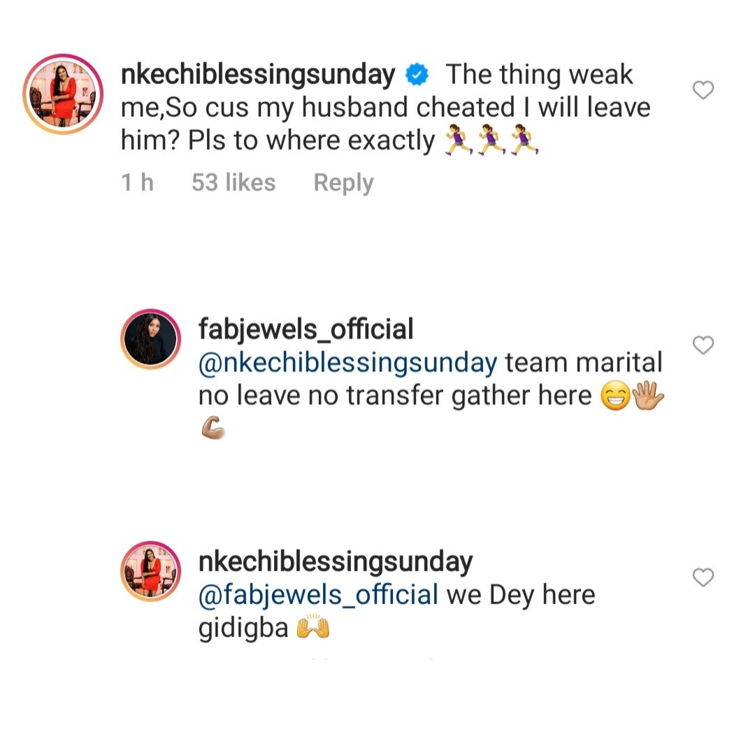 Nkechi Blessing Sunday and Grace Makun say they can never leave their husbands for cheating