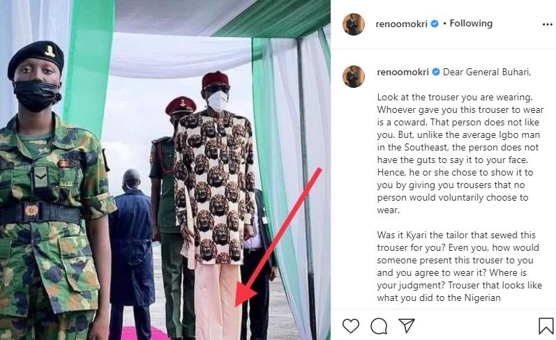 ''Même les prisonniers portent de meilleurs pantalons''- Reno Omokri tacle le président Buhari pour son pantalon-Photos
