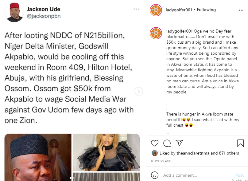 I can afford any life style without being sponsored by anyone - Businesswoman Blessing Osom says after being accused of being Akpabio