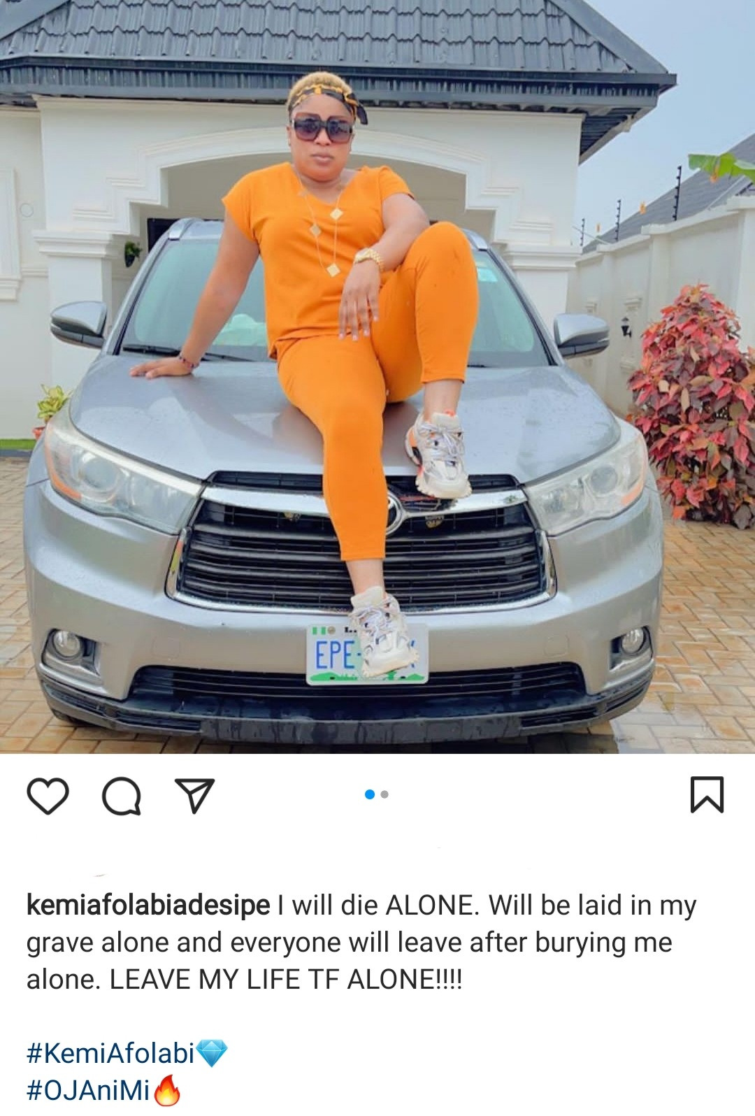 """""""I will die alone"""" Actress Kemi Afolabi points out as she asks to be left alone"""