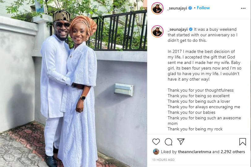 In 2017 I made the best decision of my life - Seun Ajayi says as he celebrates fourth wedding anniversary with wife, Damilola
