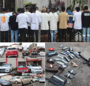 Suspected internet fraudsters apprehended weeks after they threw money at residents in Benin (photos)