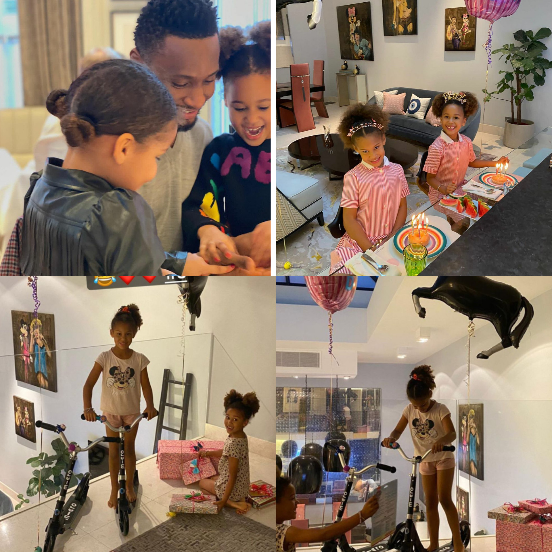 Mikel Obi celebrates his twin daughters as they turn 6
