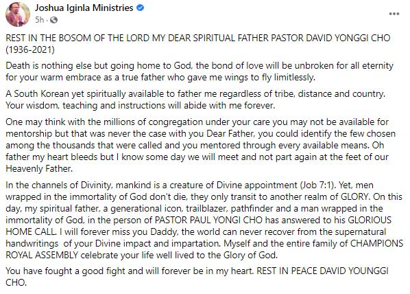 Popular South Korean pastor, David Yonggi Cho dies at 85