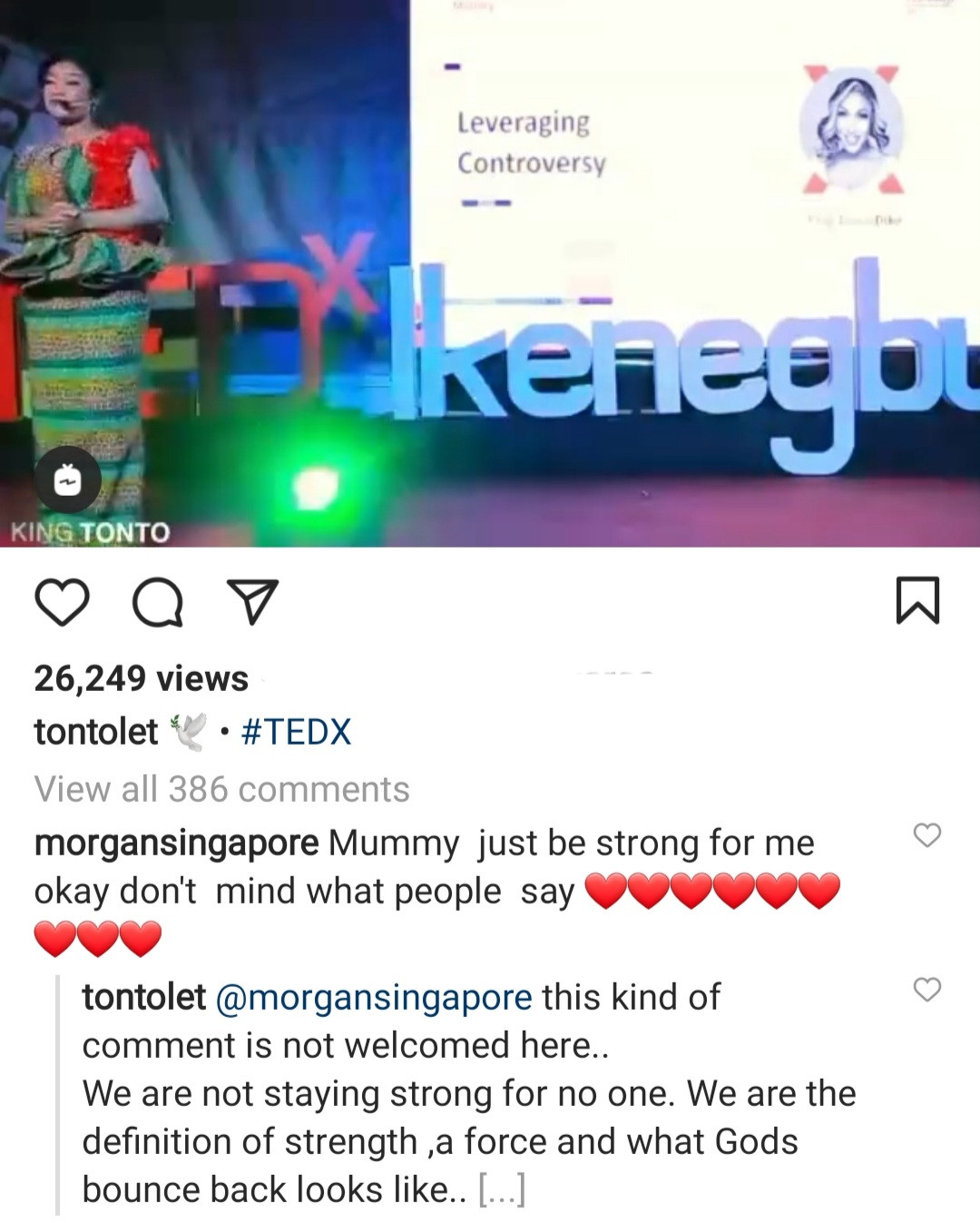 """""""Your comment is not welcome here"""" Tonto Dikeh cautions follower who told her to """"be strong"""""""