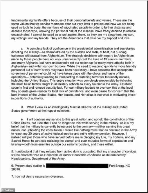 US Lieutenant Colonel resigns over Biden
