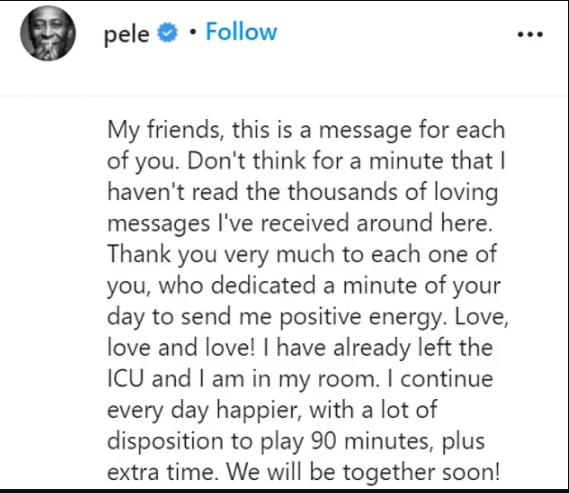 Football legend Pele jokes he is ready to
