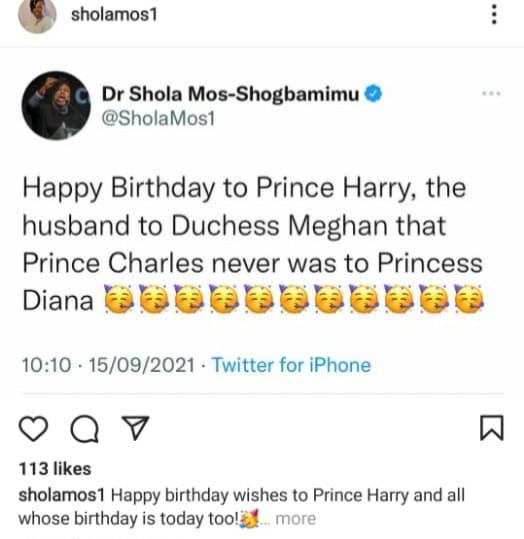 Dr Shola Mos-Shogbamimu takes swipe at Prince Charles while celebrating Prince Harry on his birthday
