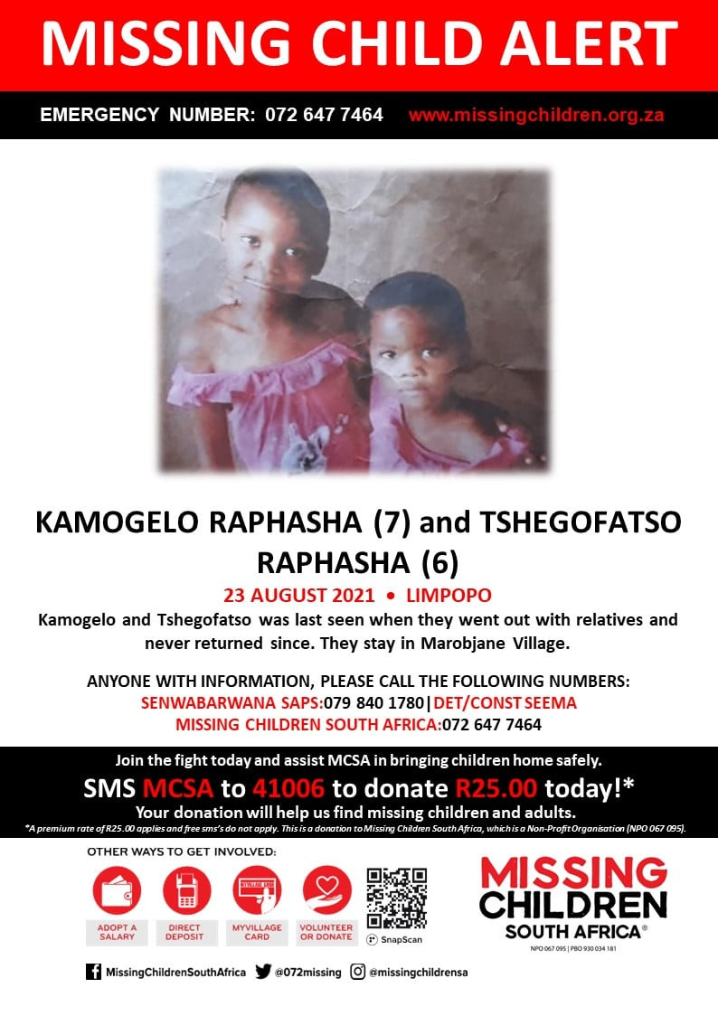 Bodies of two South African sisters aged 7 and 5 found in bushes three weeks after they went missing