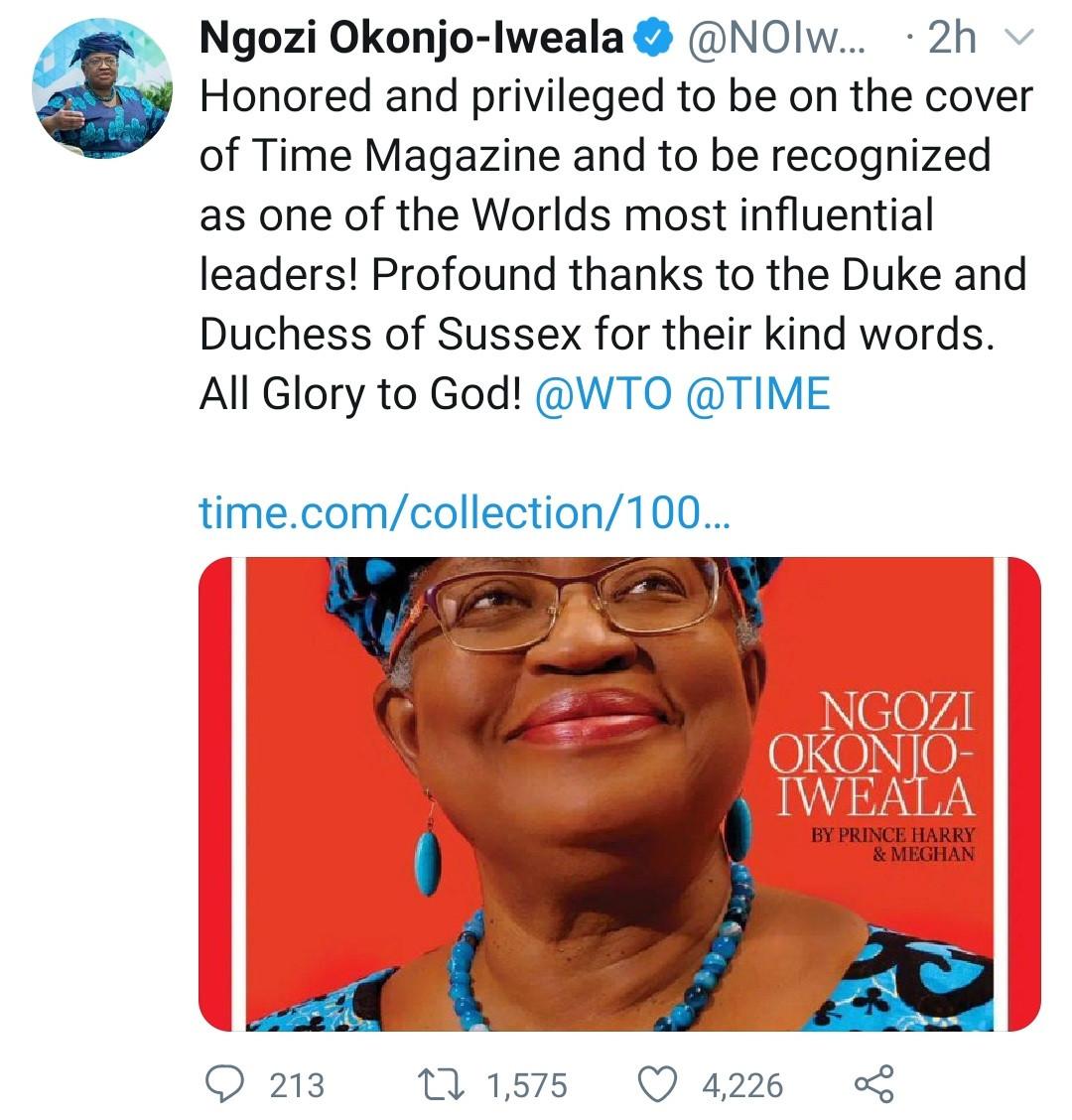 Ngozi Okonjo-Iweala makes Time 100 Most Influential People list