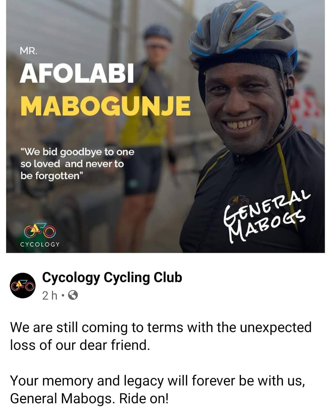 Nigerian Cyclist dies days after being stabbed by armed robbers while waiting for other cyclists