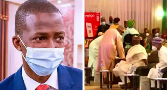 Watch how EFCC Chairman staggered off stage while speaking at an event in Aso Rock (video)