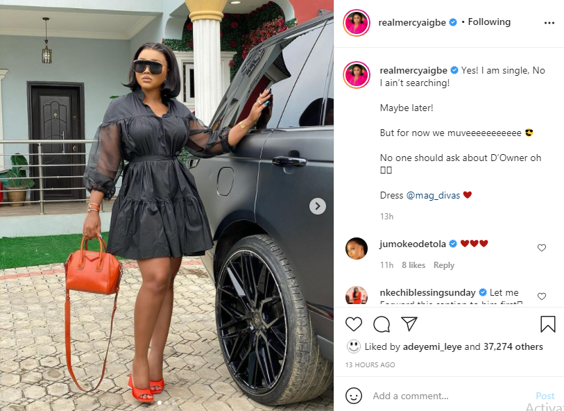 I am single and not searching, maybe later - Actress Mercy Aigbe