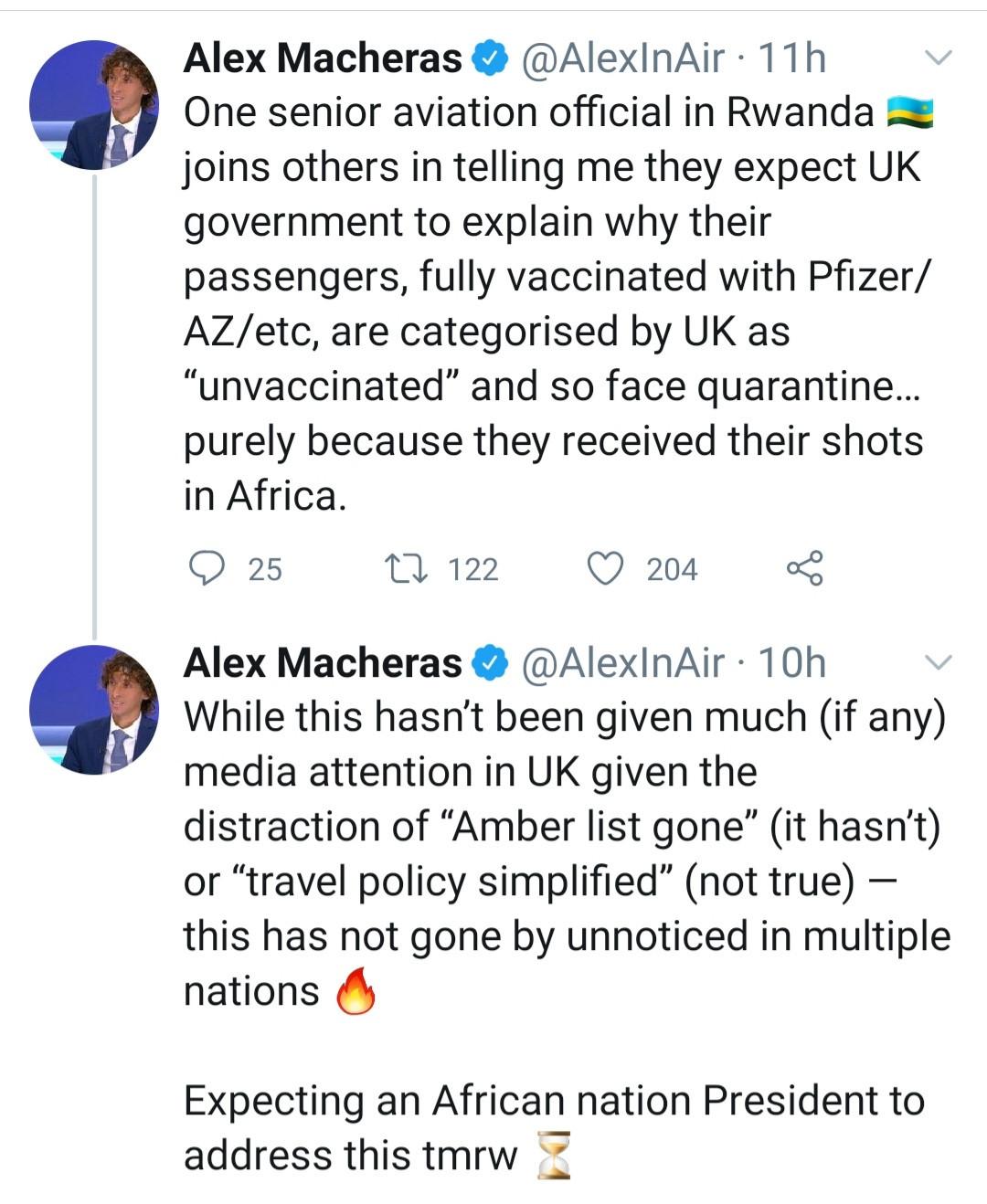Les personnes vaccinées en Afrique, en Inde et aux Émirats arabes unis considérées comme ''non vaccinées''- gouvernement britannique