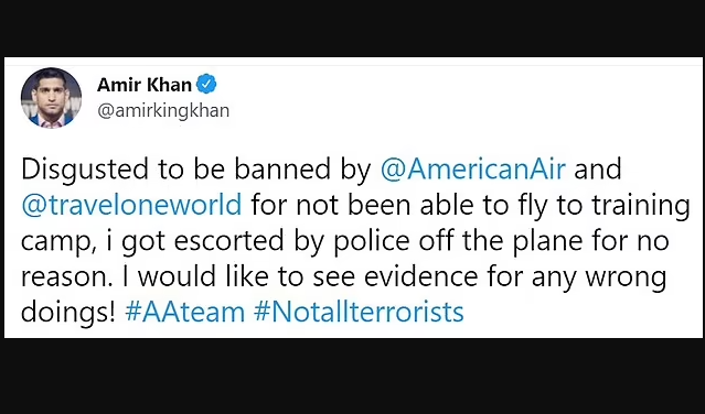 Boxer Amir Khan is kicked off American Airlines flight by US police after mask row
