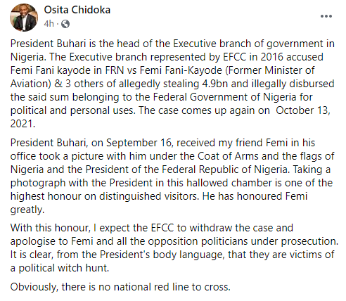 I expect EFCC to withdraw the case and apologize to Femi - Former Aviation Minister, Osita Chidoka, reacts to President Buhari receiving FFK in the presidential villa after his defection