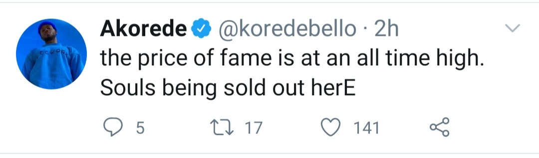"""""""Souls being sold out here"""" Korede Bello talks about the price of fame"""