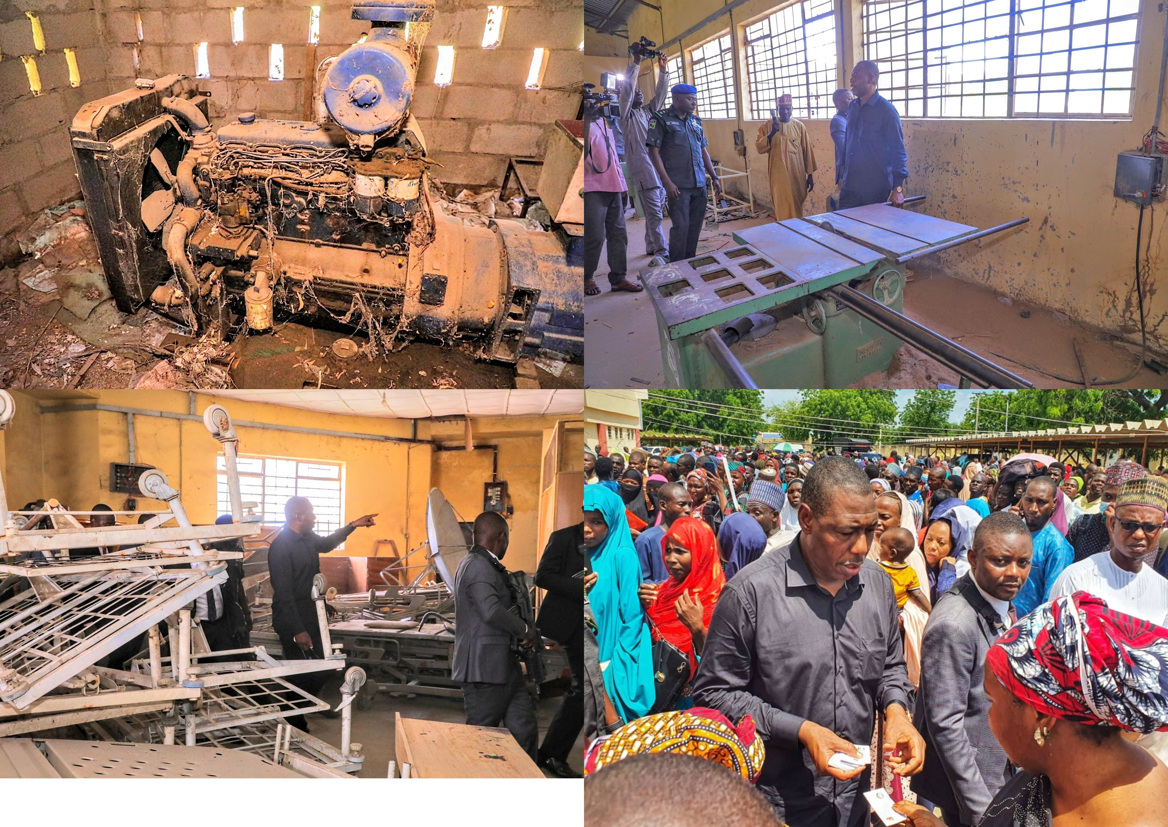 Borno state governor pays surprise visit to state-owned polytechnic, suspends entire management over 'dead' state of the institution (photos)