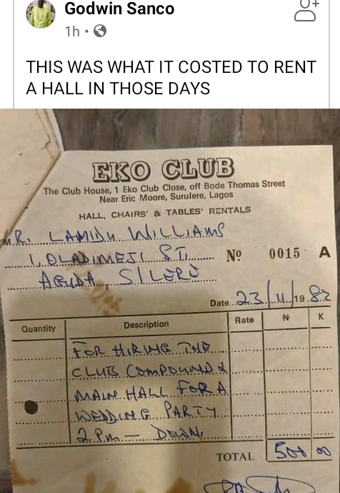 Old receipt shows it cost N500 to rent hall for weddings at Eko Club in 1982