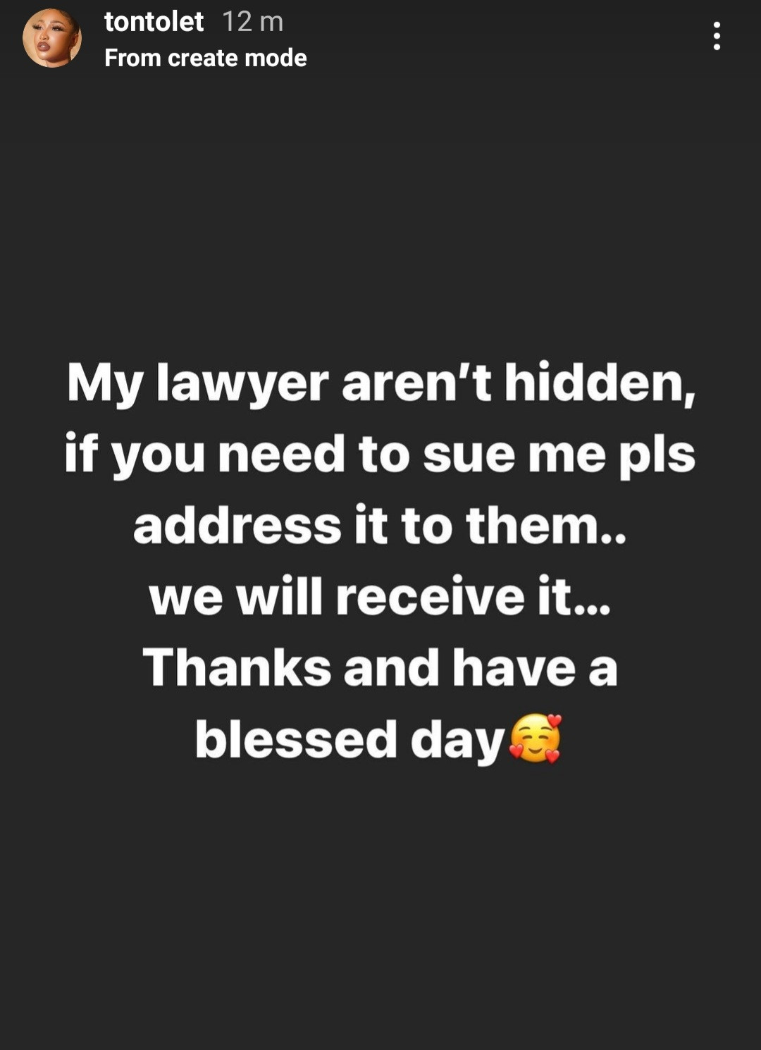 Tonto Dikeh sends public message to those who intend to sue her