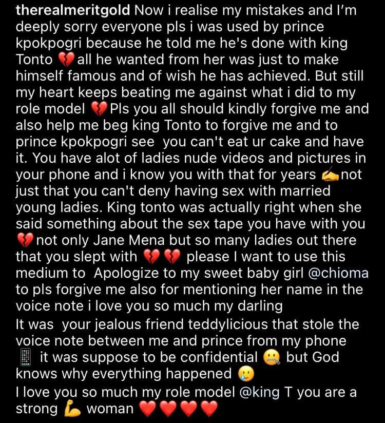 I was used by Prince Kpokpogri. Tonto Dikeh was right about the sex tape - Actress Merit Gold who was allegedly having a conversation with Kpokpogri in the leaked voice note speaks up