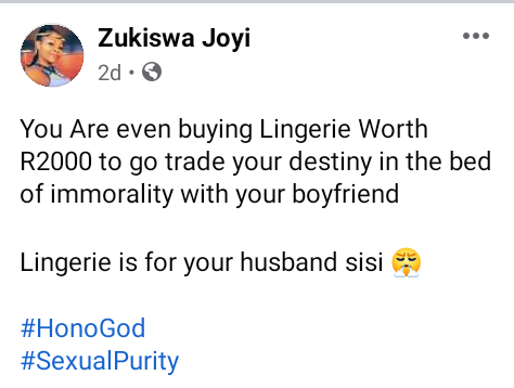 """""""Lingerie is for your husband"""" - 32-year-old South African virgin addresses women who buy expensive underwear to go"""