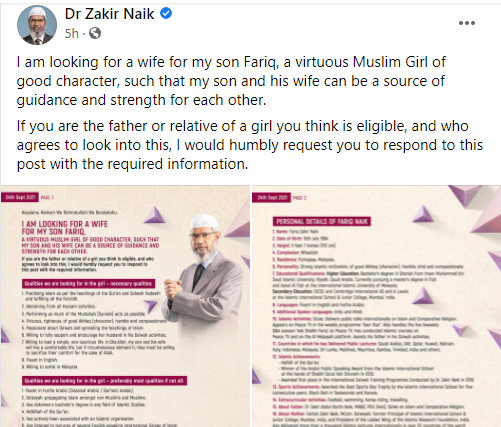 Islamic televangelist Zakir Naik takes to Facebook to seek for wife for his son, lists conditions