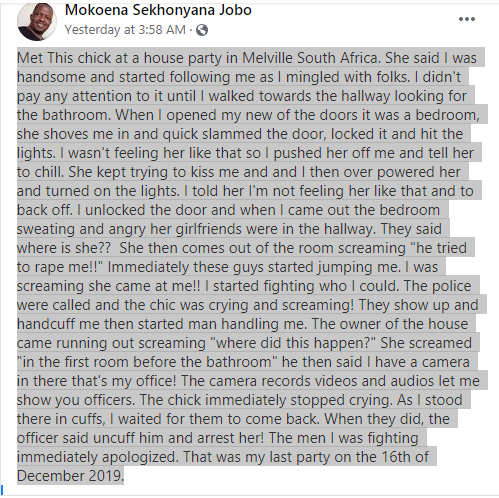 Man narrates how he was saved by a camera after being falsely accused of rape at a party