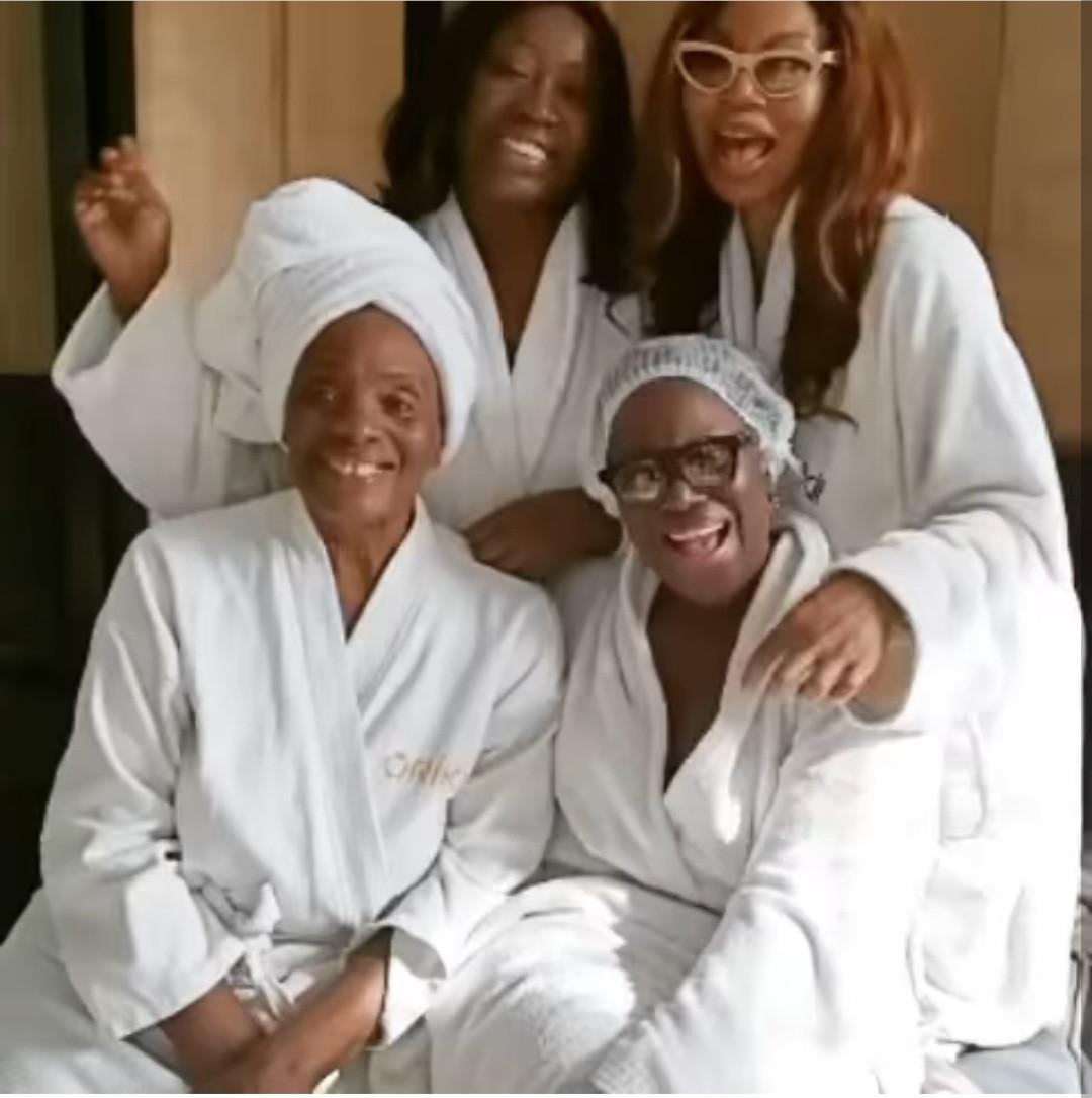 Betty Irabor, Taiwo Ajayi-Lycett and Stephanie Busari treat Joke Silva to a spa date as her 60th birthday nears (video)