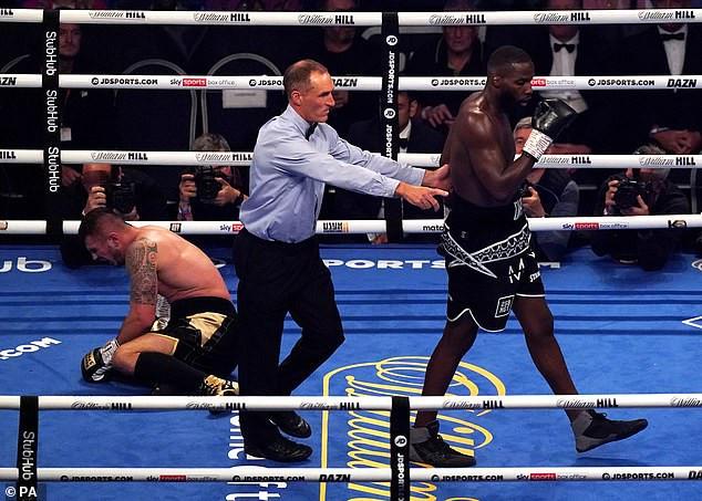 British-Nigerian boxer, Lawrence Okolie, managed by Anthony Joshua beats Dilan Prasovic in three rounds to retain WBO cruiserweight title (photos)